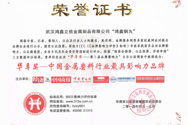 华尊奖——中国金属磨料行业**具影响力品牌